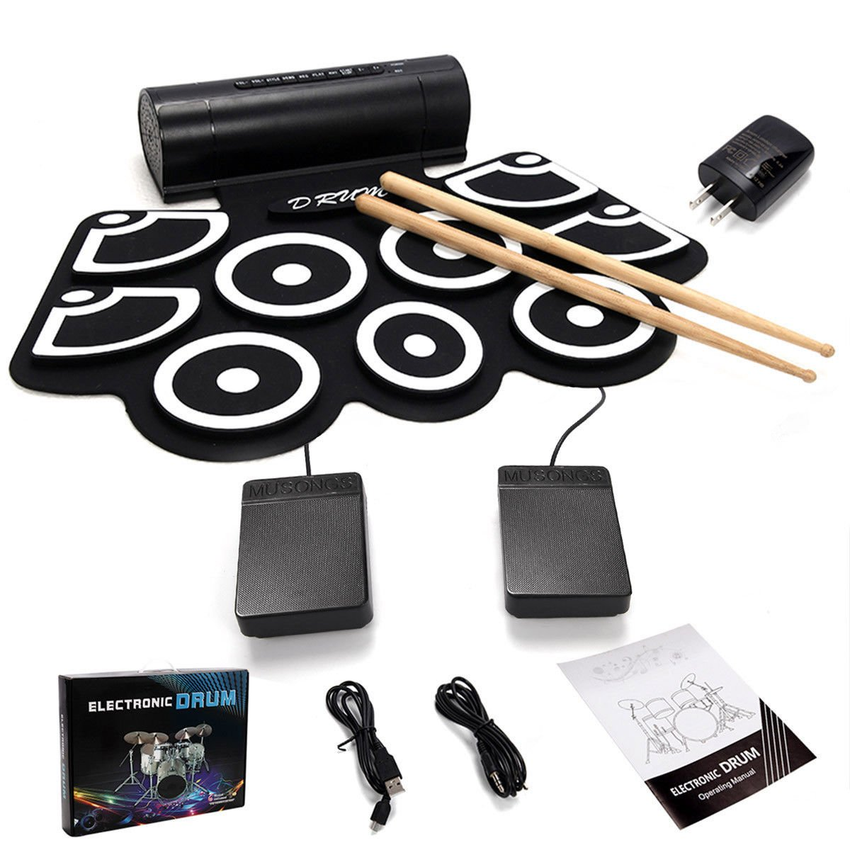Costzon 9 Pad Electronic Roll Up Drum Kit, USB MIDI With Built-in Speakers, Foot Pedals, Drum Sticks, Power Supply