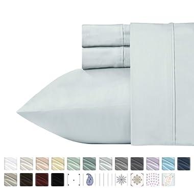 California Design Den 400 Thread Count 4 PC 100% Cotton Sheets - Light Grey Long-Staple Cotton King Sheets, Fits Mattress Upto 18'' Deep Pocket, Soft Sateen Weave Cotton Bedsheets and Pillowcases