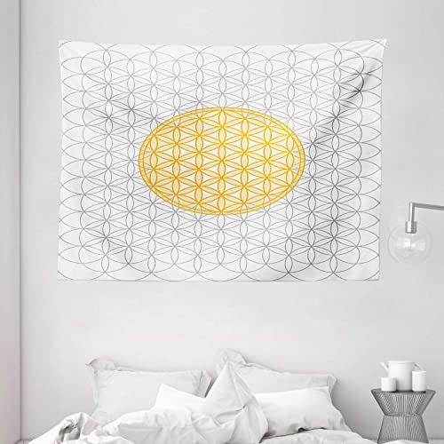 Ambesonne Geometrty Decor Tapestry by, Circles of Time and Space Vortex Natural Geometry, Wall Hanging for Bedroom Living Room Dorm, 80 X 60 Inches, Yellow