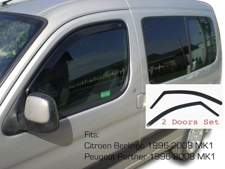 2x Deflectores de Aire Compatible con Citro/ën Berlingo Peugeot Partner Ranch 1996-2008 Mk1 Derivabrisas protecci/ón sol lluvia nieve viento Vidrio acr/ílico PMMA de primera calidad