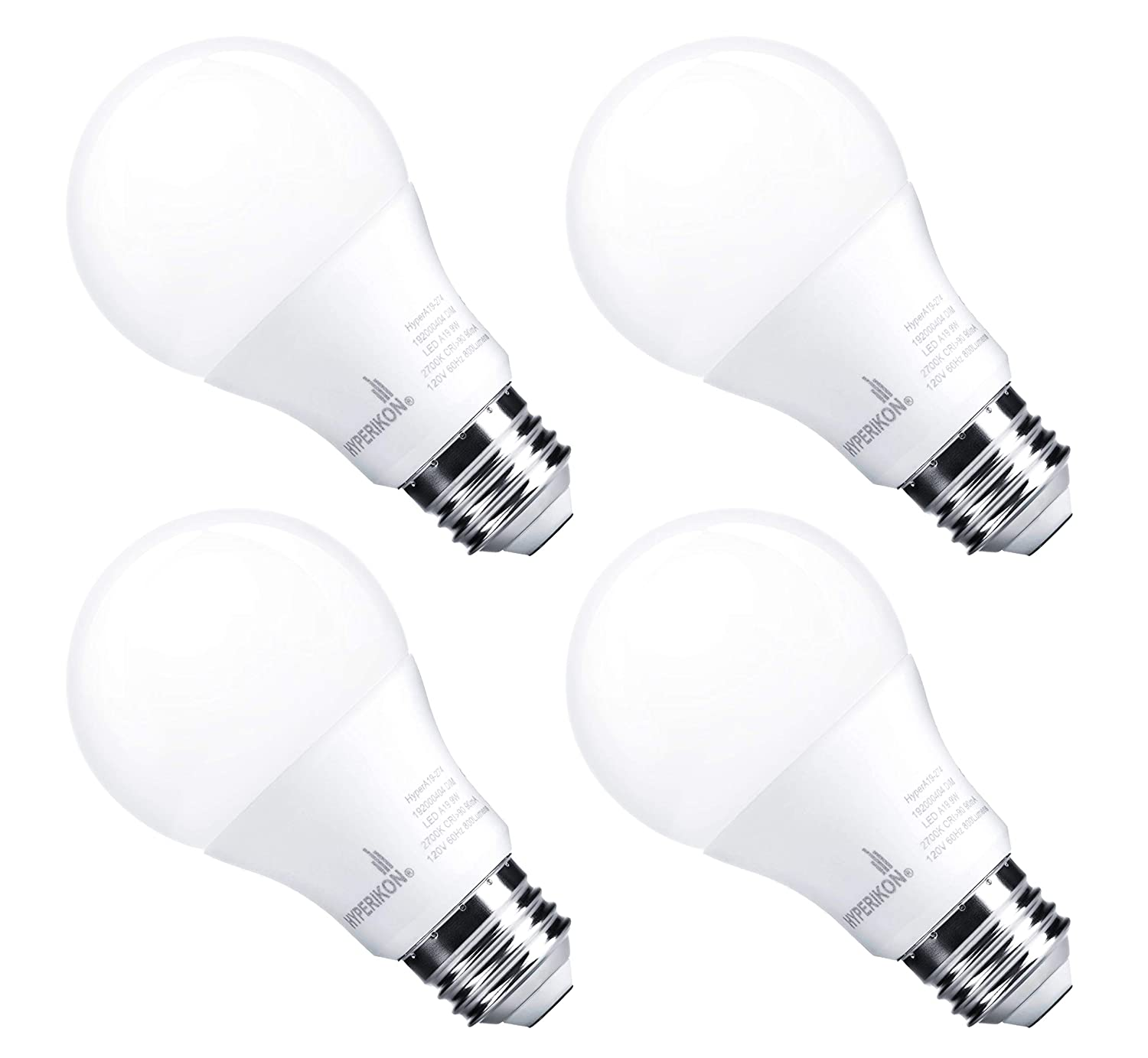 Hyperikon A19 LED Dimmable Bulb, 9.5-Watt (60W Equivalent), 4000K Daylight, CRI90+(Pack of 4) Inc.