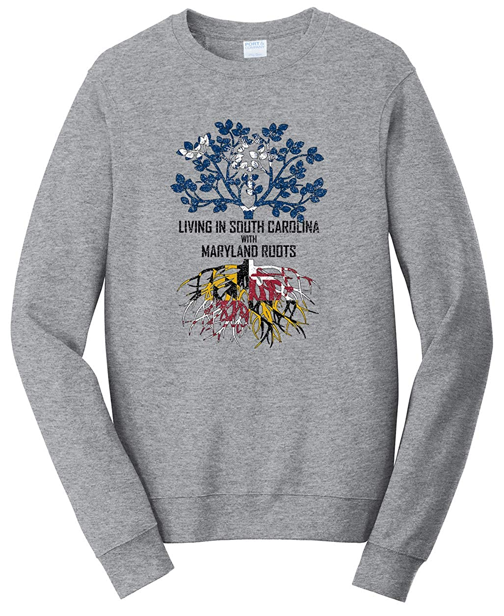 Tenacitee Unisex Living in South Carolina with Maryland Roots Sweatshirt