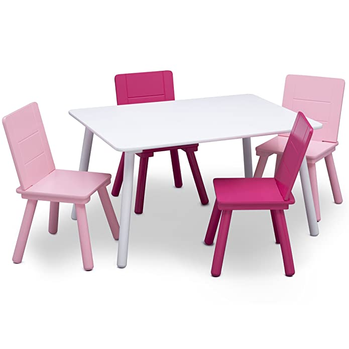 Delta Children Kids' Table and Chair Set 4 Chairs Included - White/Pink