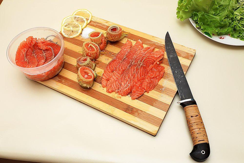 Fillet Knife - Fishing Knife - D2 Steel - Birchbark Handle - KASATKA - Leather Sheath by Nazarov Knives (Image #6)