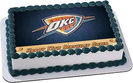 Terrific Amazon Com Oklahoma City Thunder Okc Basketball Edible Image Cake Funny Birthday Cards Online Inifofree Goldxyz