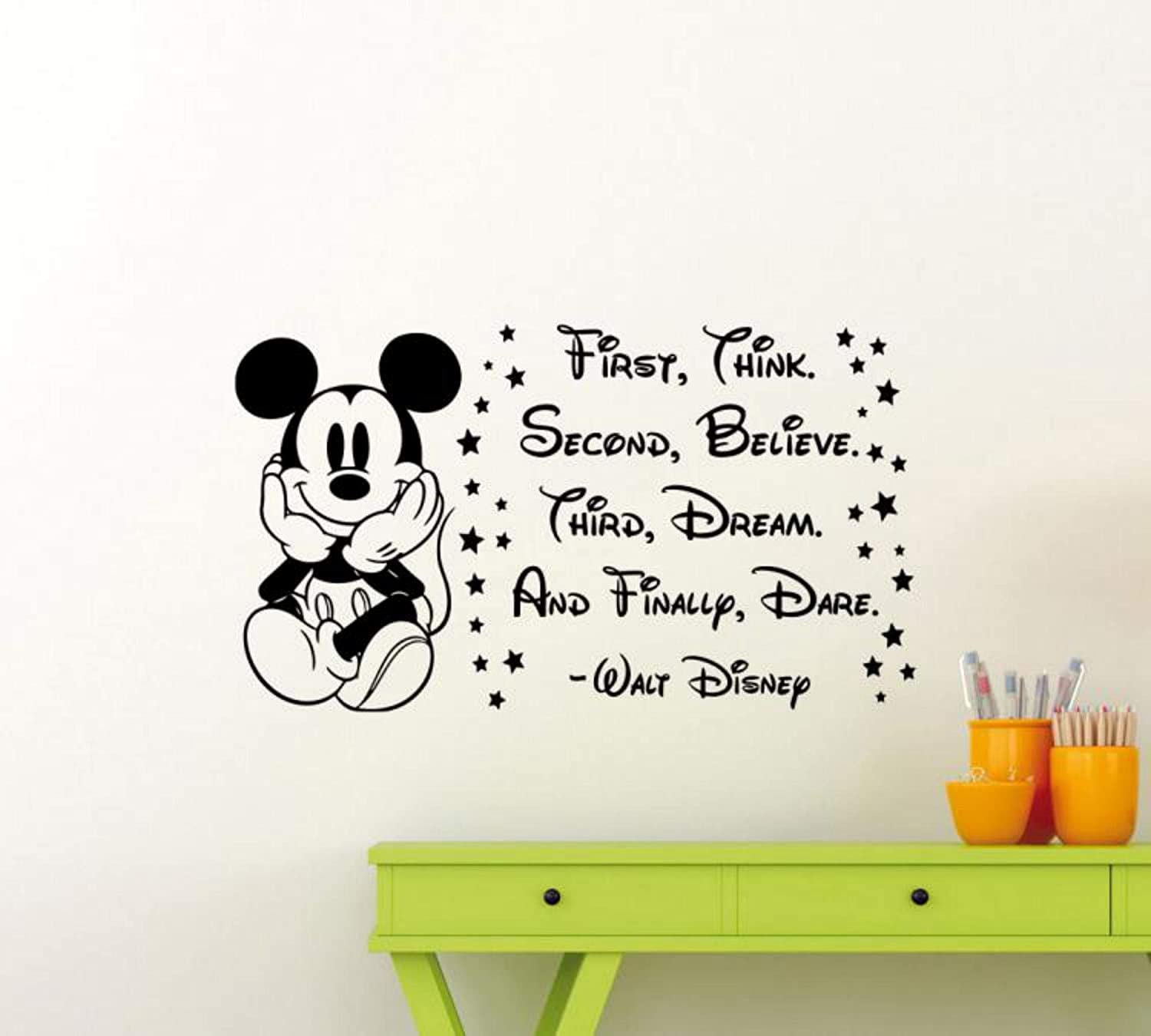 Mickey Mouse Wall Vinyl Decal Walt Disney Quote Poster Wall Decor Nursery Wall Art Disney Sticker Children Gift Mural Removable Kids Room Print 172ct