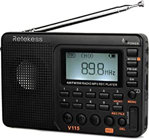 Retekess V-115 Radio AM/FM Stereo with Portable Shortwave Transistor MP3 Player REC Voice Recorder Support T-Flash Card and Sleep Timer (Black)