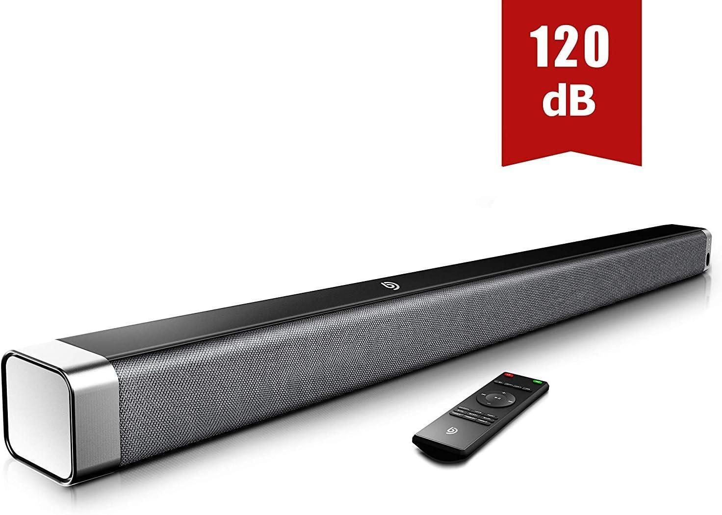 Barra de Sonido 2.0 Canales, Potencia 120dB, BOMAKER Tecnología DSP Subwoofer Incorporado + Bluetooth 5.0 para TV, Soporta Óptico, 3,5 mm Audio AUX, USB, para Cine en Casa, ODINE I, Negro-Gris