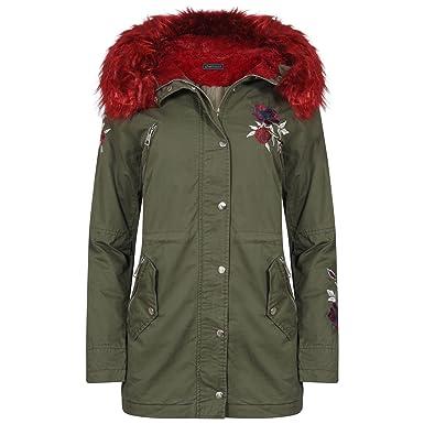 56ba7d13bc4 shelikes Womens Red Faux Fur Hooded Parka Coat Sizes UK 8 10 12 14 16   Amazon.co.uk  Clothing