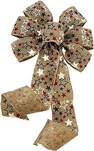Patriotic Burlap Christmas Tree Bow - 10