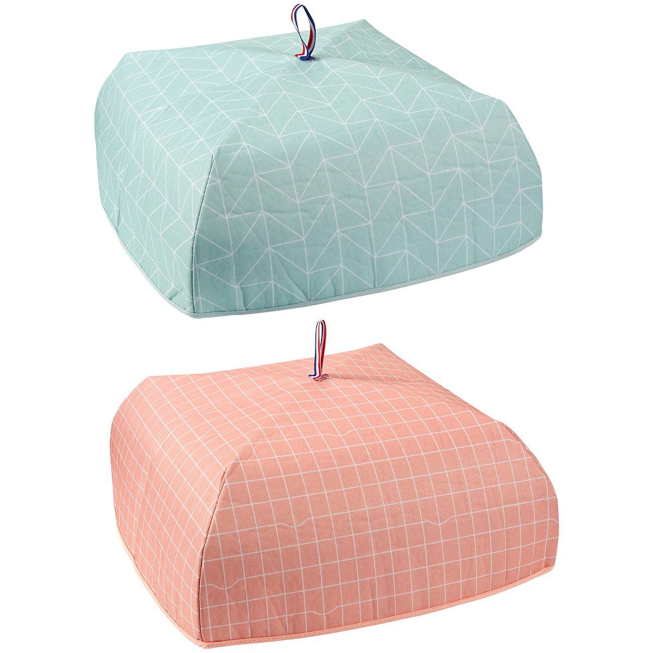 2-Pack Food Cover - Portable Thermal Pop-Up Food Cover, Collapsible Food Tent, Blue, Pink, 15 x 7 x 15 Inches