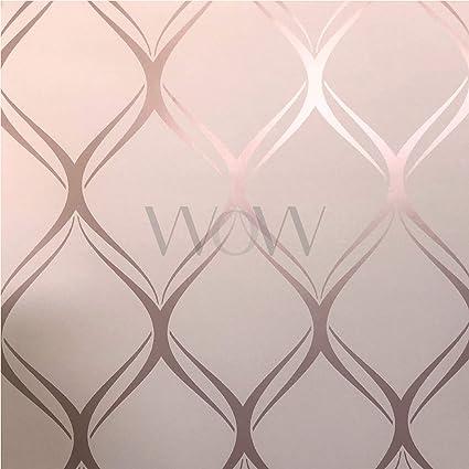 Clifton Wave Metallic Geometric Wallpaper Pinkrose Gold