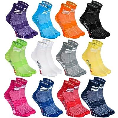 6,9 ou 12 paires de Chaussettes Modernes, Originales et Sportives dans 12 couleurs à la mode. Fabriqués dans l'UE! Tailles 36 - 46 Idéals pour que le Pied Puisse Respirer! Top Qualité! Oeko-Tex!