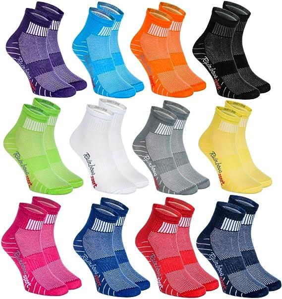 Rainbow Socks - Hombre Mujer Calcetines Deporte Colores de Algodón - Pares - - Talla: Amazon.es: Ropa y accesorios