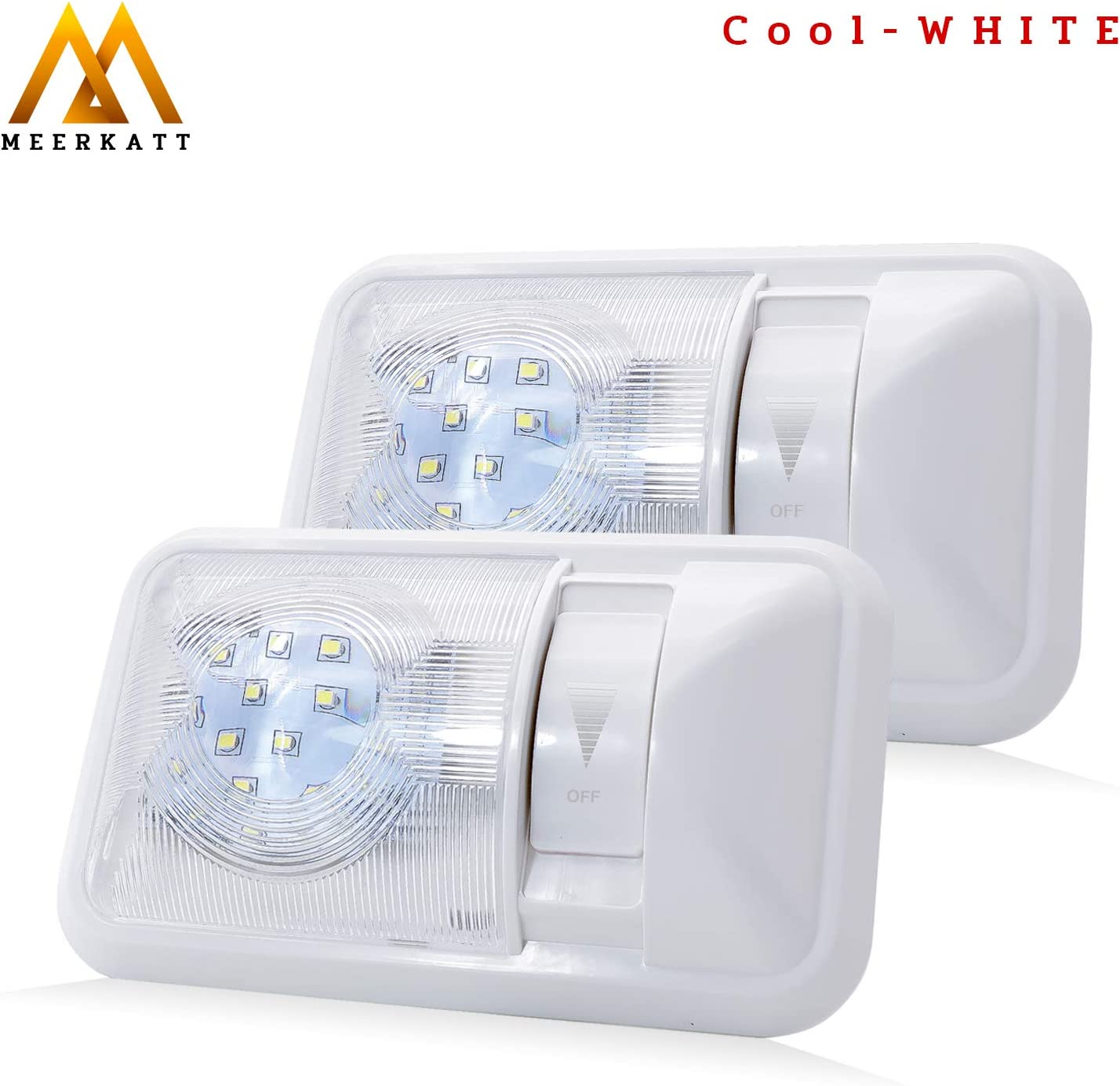 Pack of 1 8.3 Inch Cool White LED Ceiling Single Dome Lights 24X2835 SMD Dimmable with Switch Interior Lamp for Boat Cabin Trailer RV Camper Van Caravan Lorry DC 12V 6000-6500K Fixture TDT Meerkatt