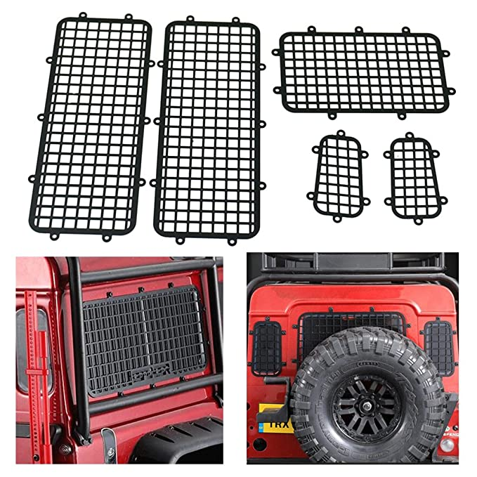 Baoblaze 5pcs Metal 1:10 RC Car Window Mesh for Traxxas TRX-4 RC Crawler Parts Black