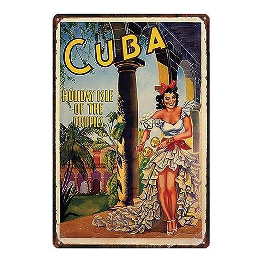 Cuba Póster De Pared Metal Retro Placa Cartel Cartel De ...