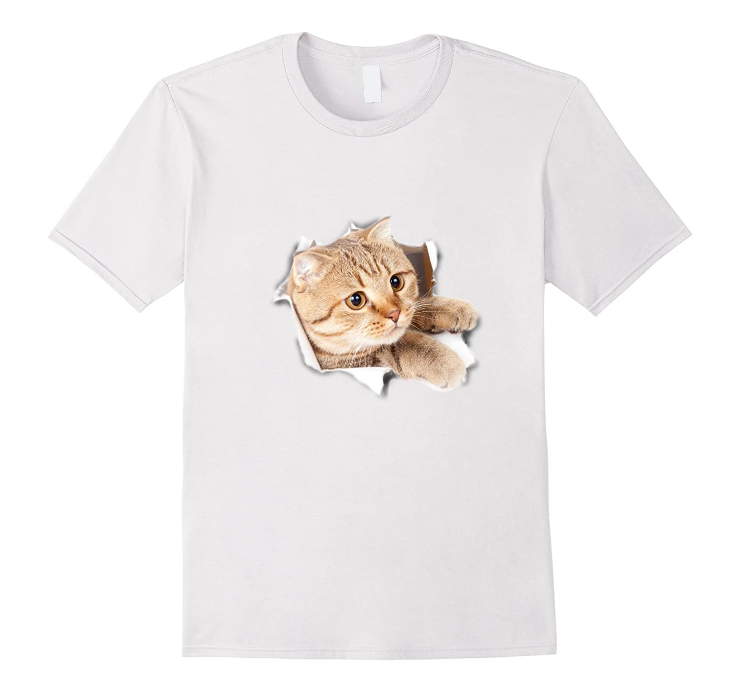 42a97cc3a 3D Cat T-Shirt 3D Cat Sticker T-Shirt Funny Cat 3D Shirt-PL – Polozatee