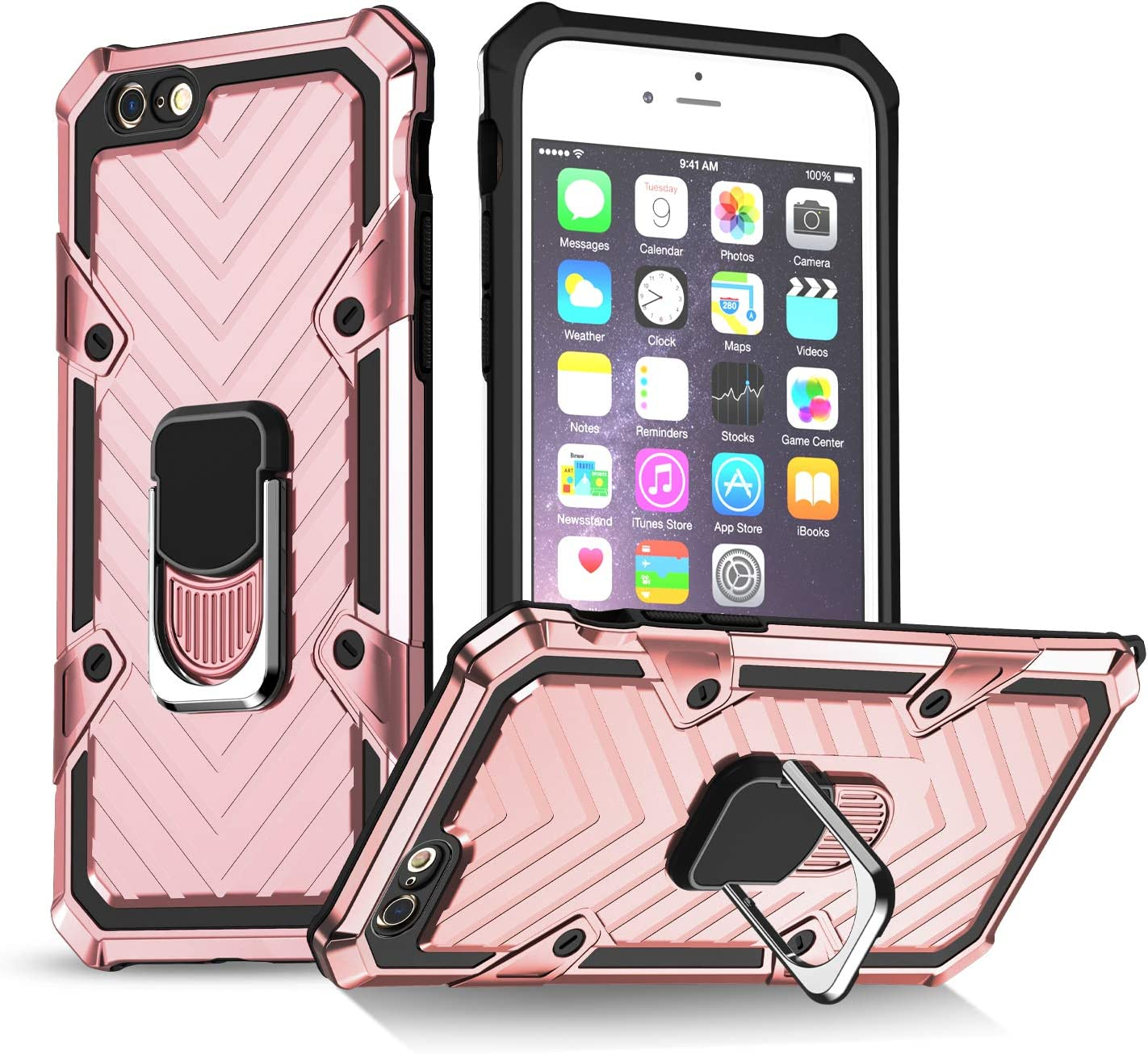 iPhone 6 Case | iPhone 6s Case | Kickstand | [ Military Grade ] 15ft. SGS Drop Tested Protective Case | Compatible for Apple iPhone 6/6S -Rose Gold (iPhone 6/6s)