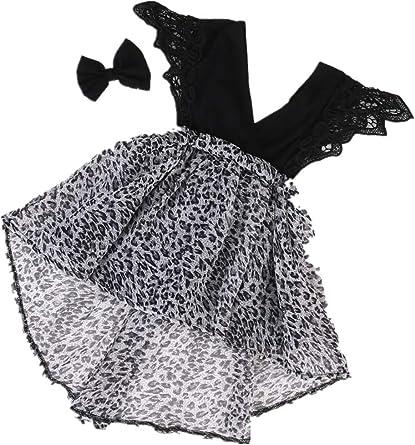 Ropa Bebe Ni/ñA Verano Moda De Verano De Gasa Beb/é Ni/ñA del Vestido del Mono del Partido Vestido De Tut/ú De Belleza Diadema Ni/ñO Vestido De Leopardo