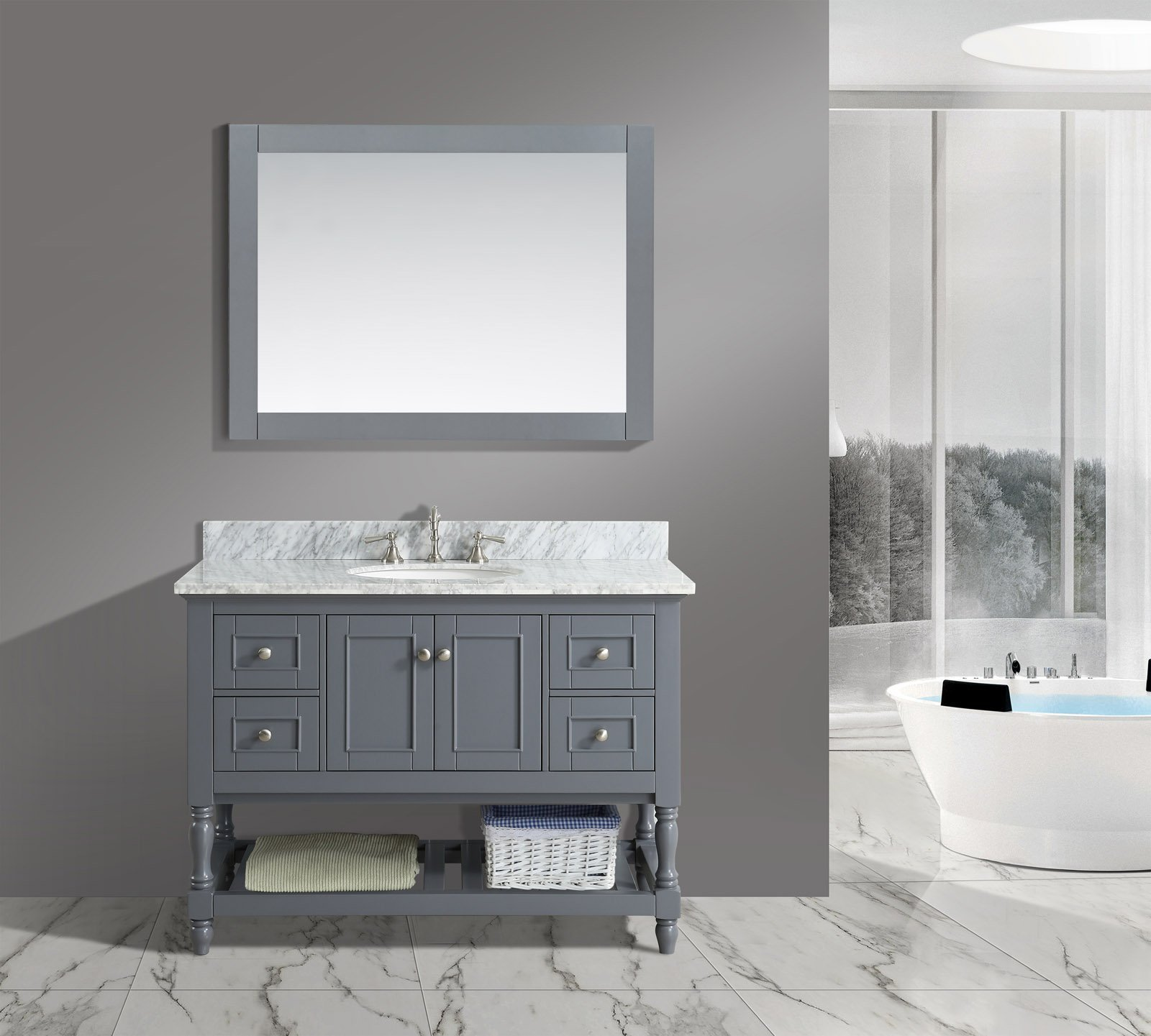 UrbanFurnishing.net - Silvia 48-Inch (48'') Bathroom Sink Vanity Set with White Italian Carrara Marble Top - Charcoal by UrbanFurnishing.net