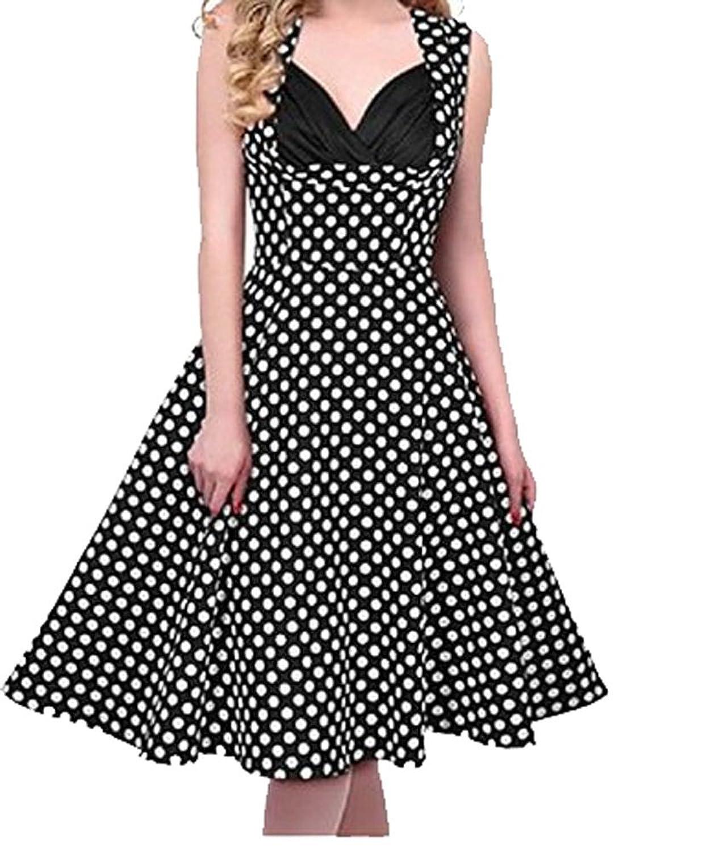 REPHYLLIS Damen 50s Retro vintage Elegant Rockabilly kleid Hepburn Stil Partykleid Cocktailkleid