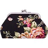 VWH Women Retro Small Wallet Flower Clutch Bag Good Flowers Gift Bags (black)