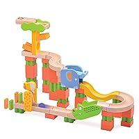 Top Right Toys Safari Trix Track Wooden Marble Run for Kids - 65 Piece Animal Themed Maze Run