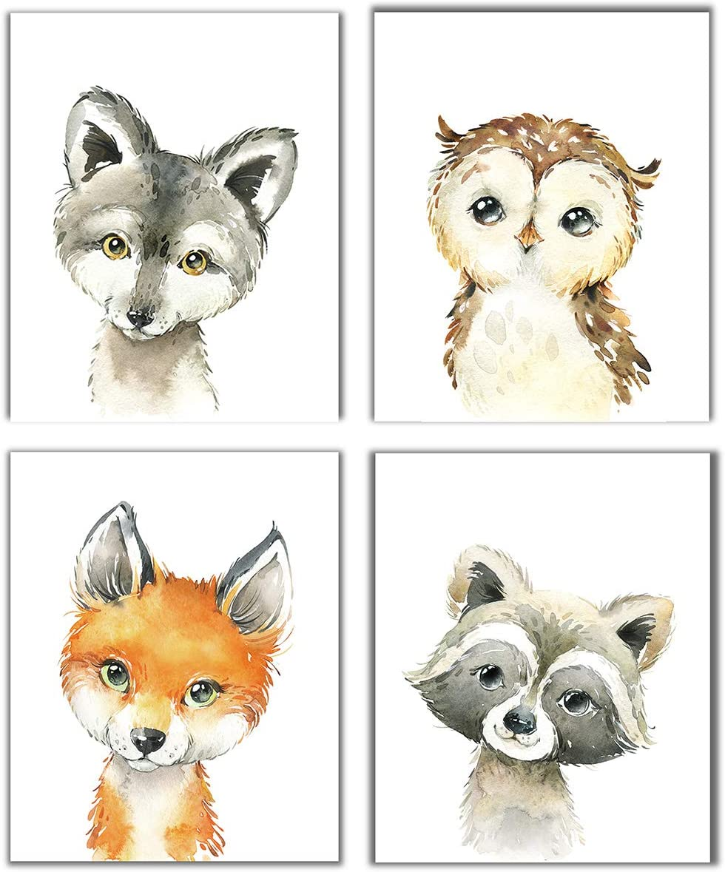 Little Baby Watercolor Animals Forest Prints Set of 4 (Unframed) Nursery Decor Art (8x10) (Option 1)