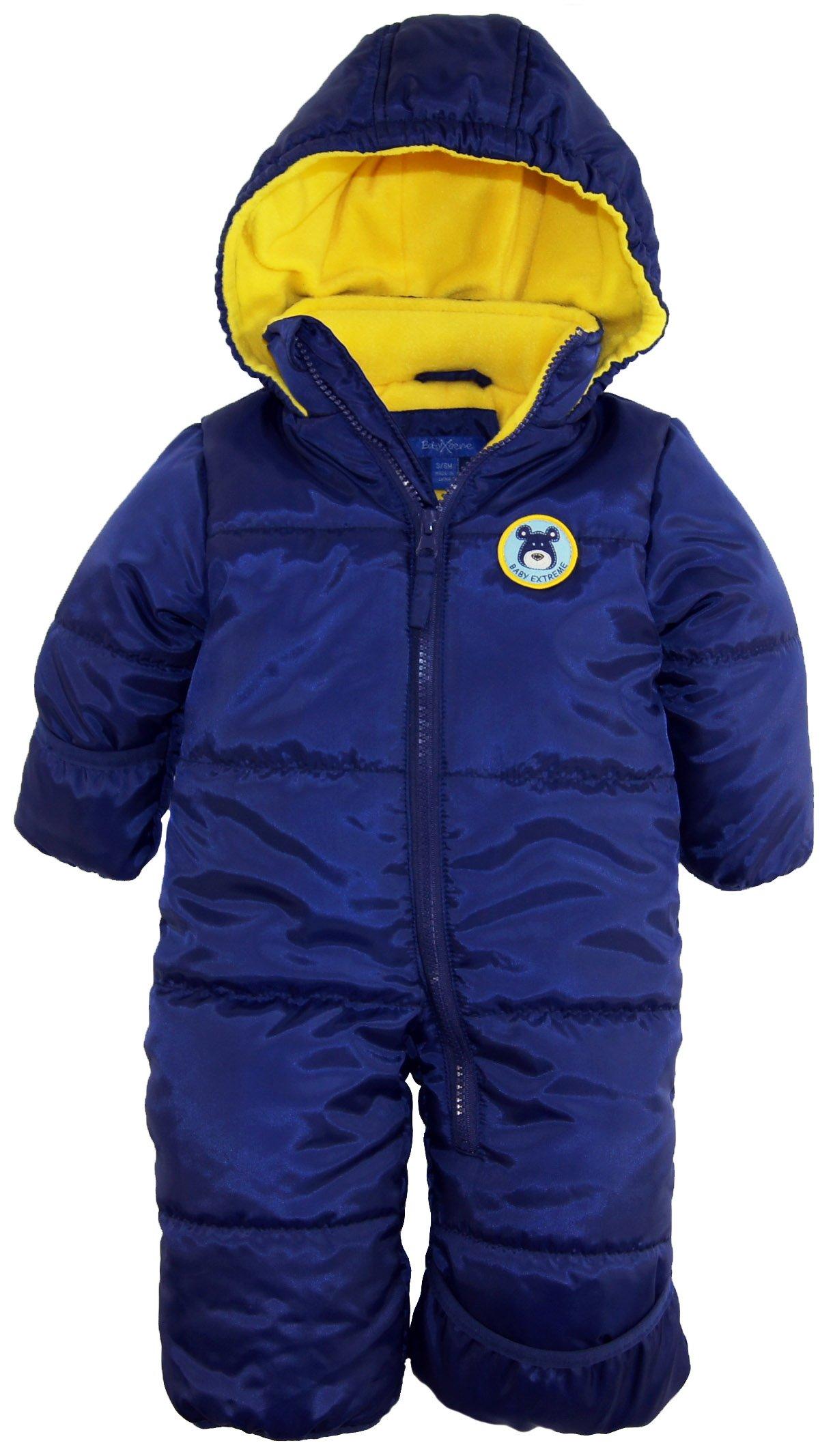 iXtreme Baby Boys Newborn Cute Teddy Bear One Piece Puffer Winter Snowsuit, Navy, 3/6 Months