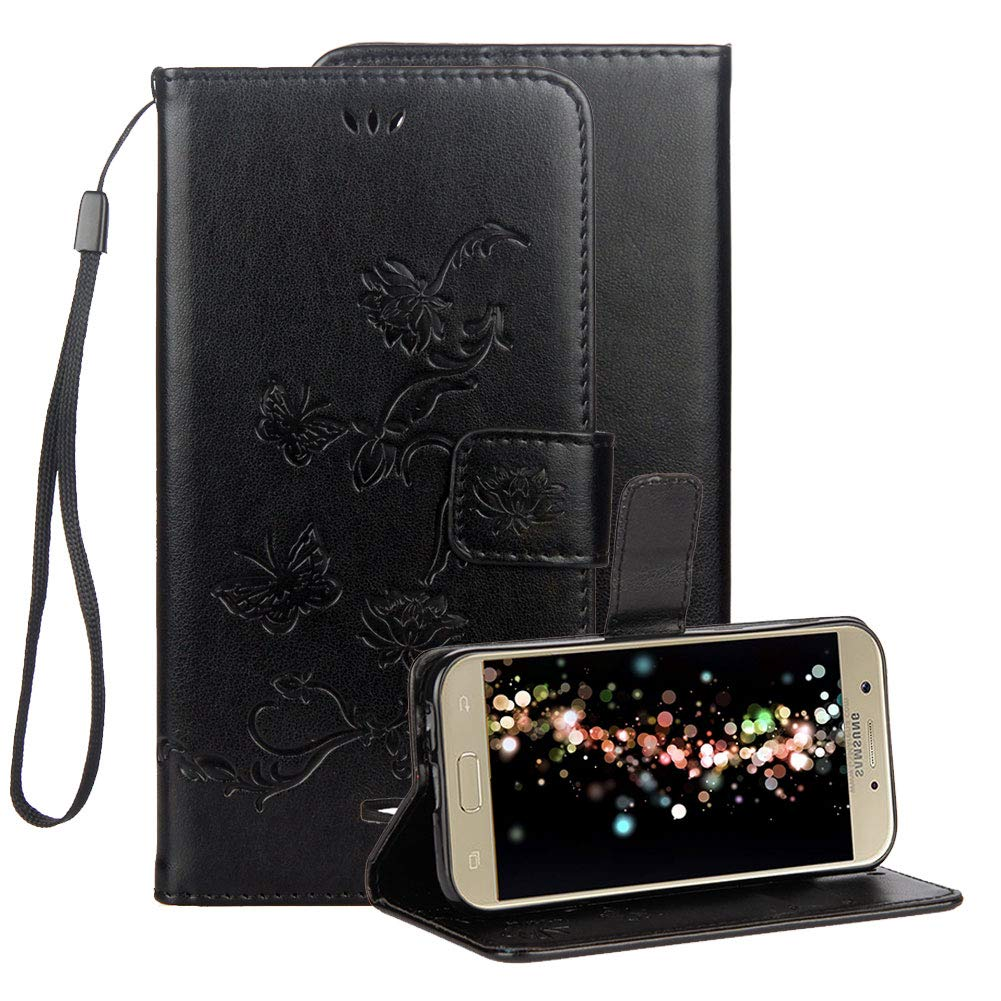 Embossed Leather Case for Samsung Galaxy J7 2018,Samsung J7 Embossed Butterfly Lotus Flower Premium PU Leather Wallet Soft TPU Flip Cover Magnetic Card Slot Holder with Detachable Hand Strap-Black