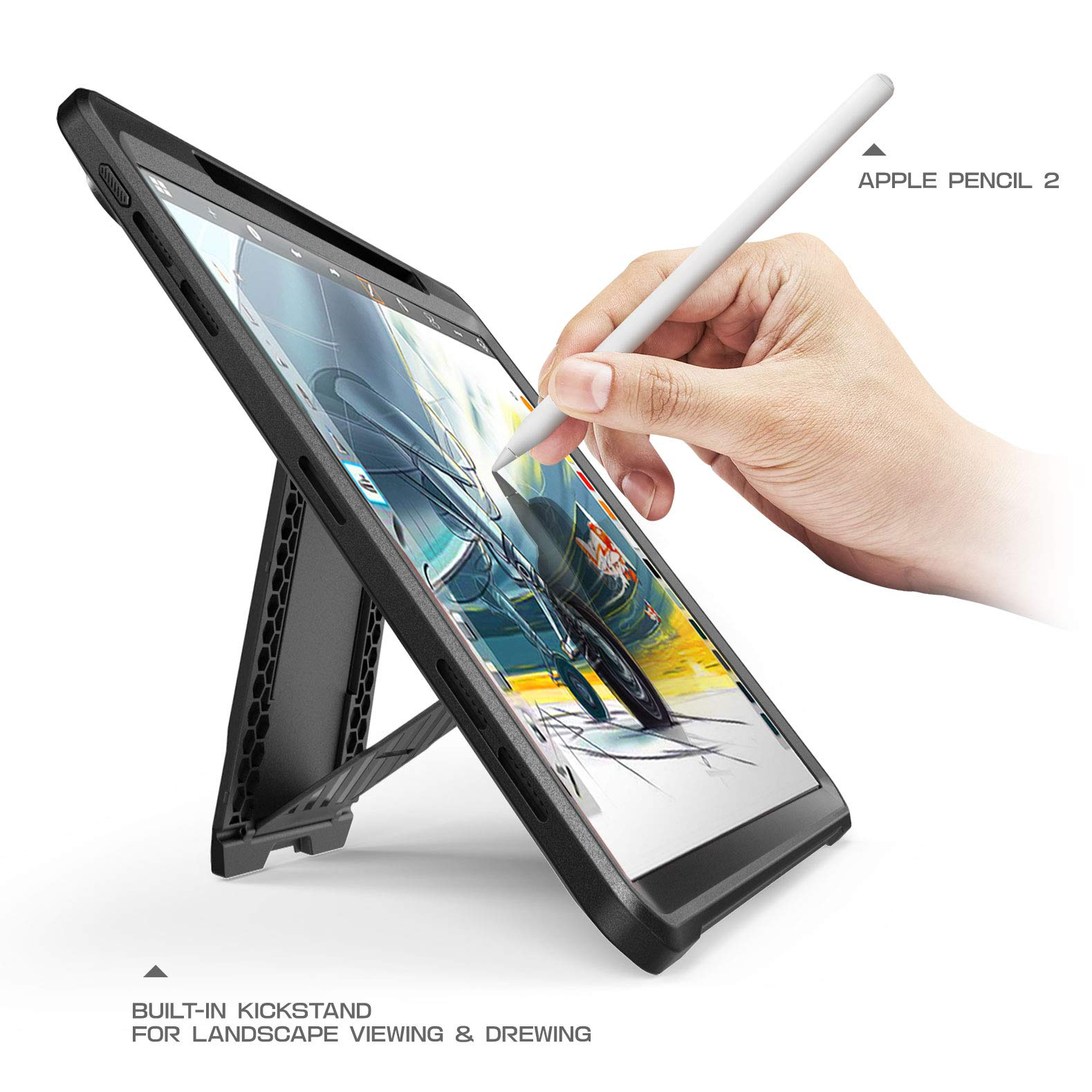 SUPCASE Case for iPad Pro 11 2018, Support Pencil Charging with Built-in Screen Protector Full-Body Rugged Kickstand Protective Case for iPad Pro 11 inch 2018 Release-UB Pro Series (Black) by SUPCASE (Image #4)