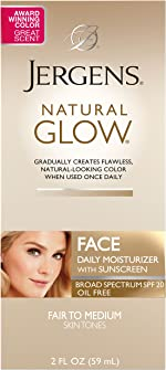 Jergens Natural Glow Face Moisturizer with SPF 20, Self Tanner for