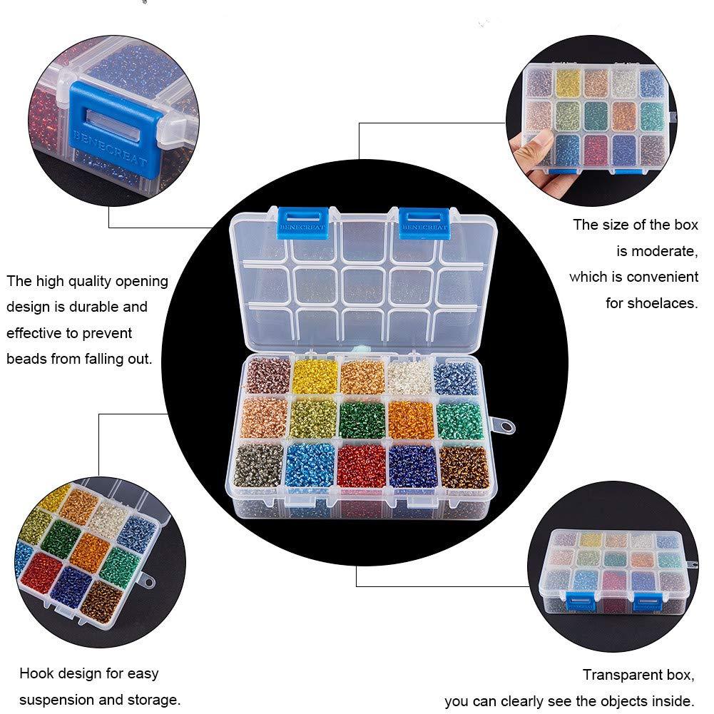15 Mixed Colors PandaHall Elite Cuentas de Cristal para Semillas 8//0 3mm