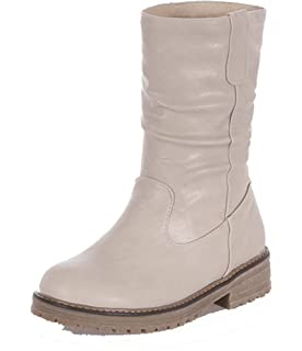 AgeeMi Shoes Donna PU Punta Chiusa Tonda Invernali Casuale Comode Zip  Stivali fd9a8d1a826