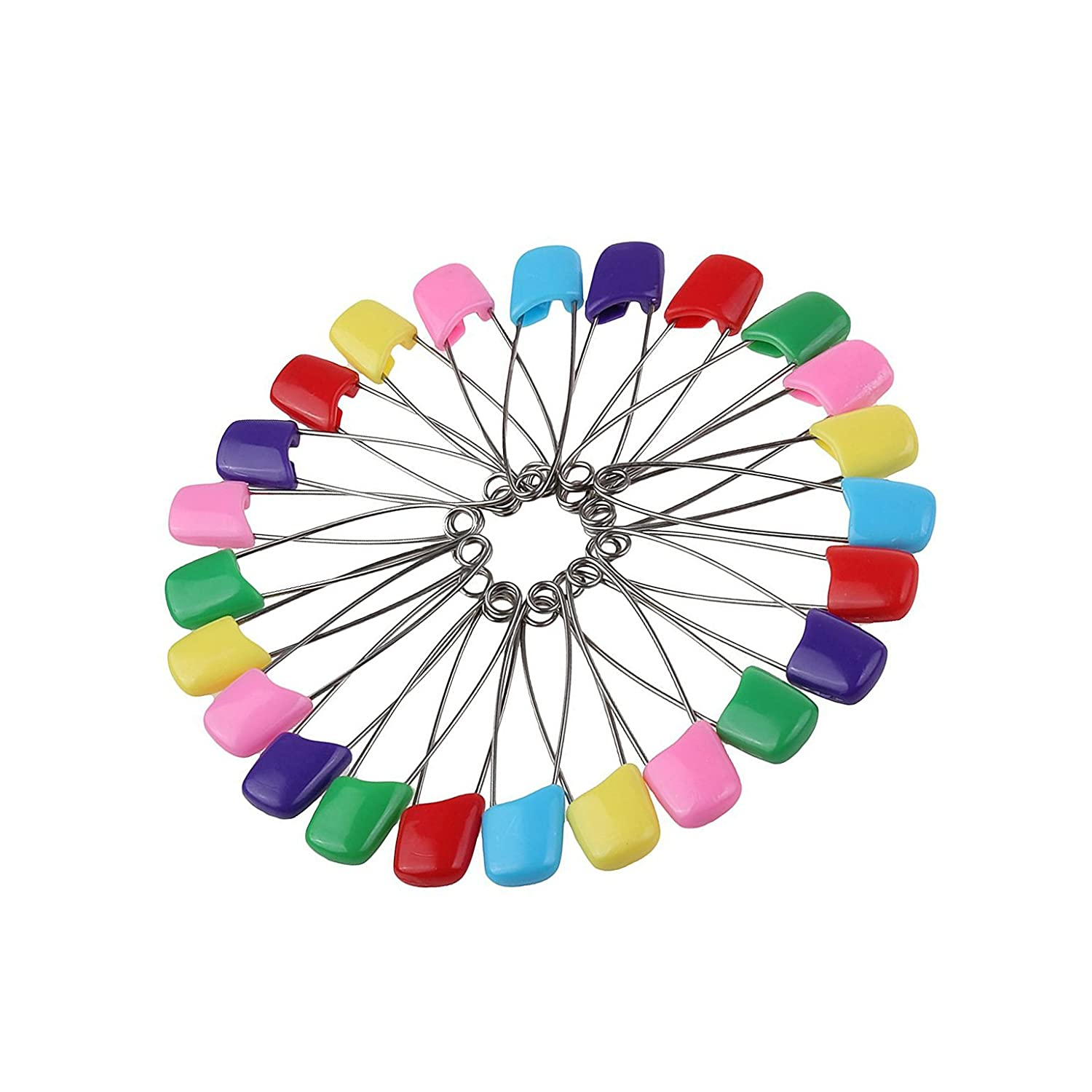 """Assorted Color 100 Packs 2.2"""" Baby Infant Child Kids Nappy Cloth Diaper Safety Pins Plastic Head Locking Cloth Safety Pins Clip Holder"""