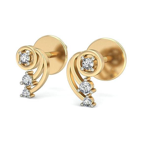 Belle Diamante 14KT Yellow Gold and Diamond Stud Earrings Earrings