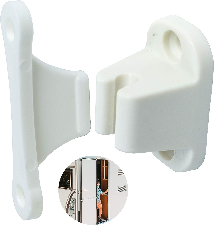 Türfeststeller für Wohnwagen und Wohnmobil, 9 mm und 9 mm Lochabstand,  Türschloss weiß, Türhalter Serviceklappe und Stauraum-Tür, Türschnapper