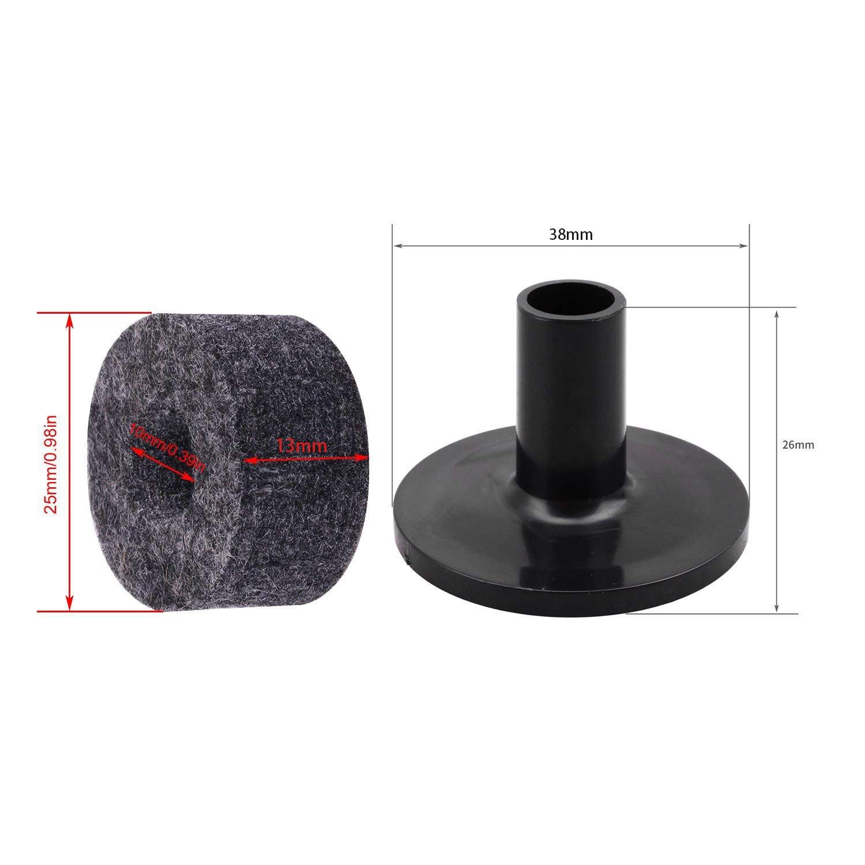 SODIAL 8PCS Pied de cymbale 25mm Feutre Rondelle 2PCS Cymbale Manchons de remplacement pour kit de Tambour detagere
