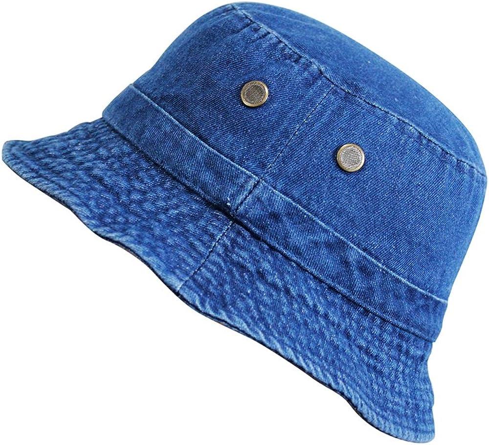 Denim Jean Cotton Bucket Hat Packable Summer Travel Hat Fishing Hat 3 Colors
