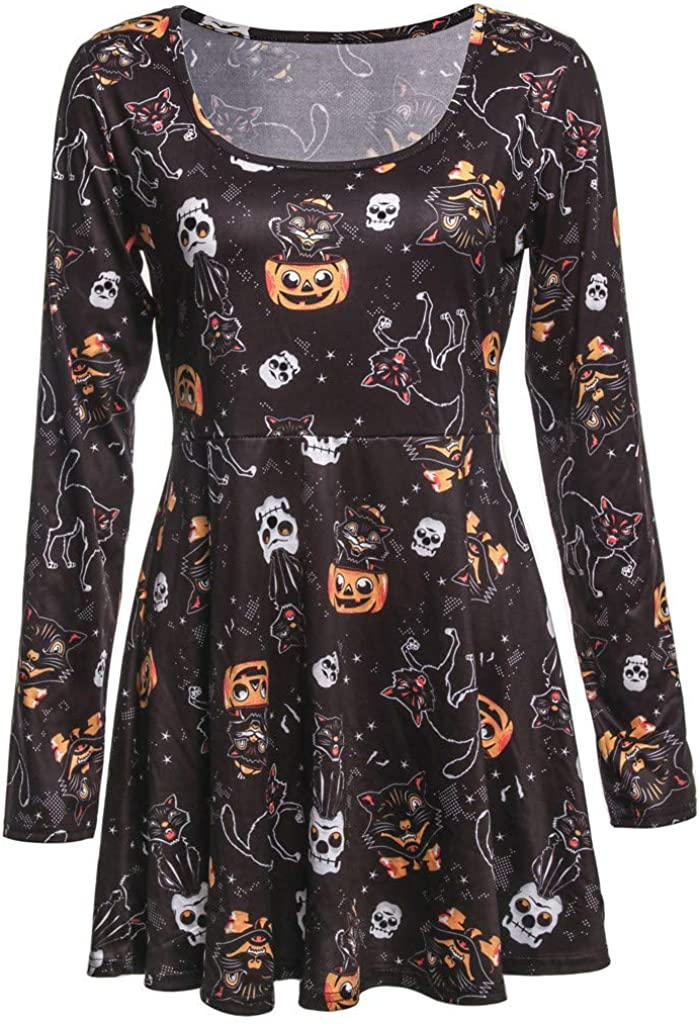 RedBrowm Women Halloween Long Sleeve O-Neck Pumpkin Printed Club Party Mini Dresses