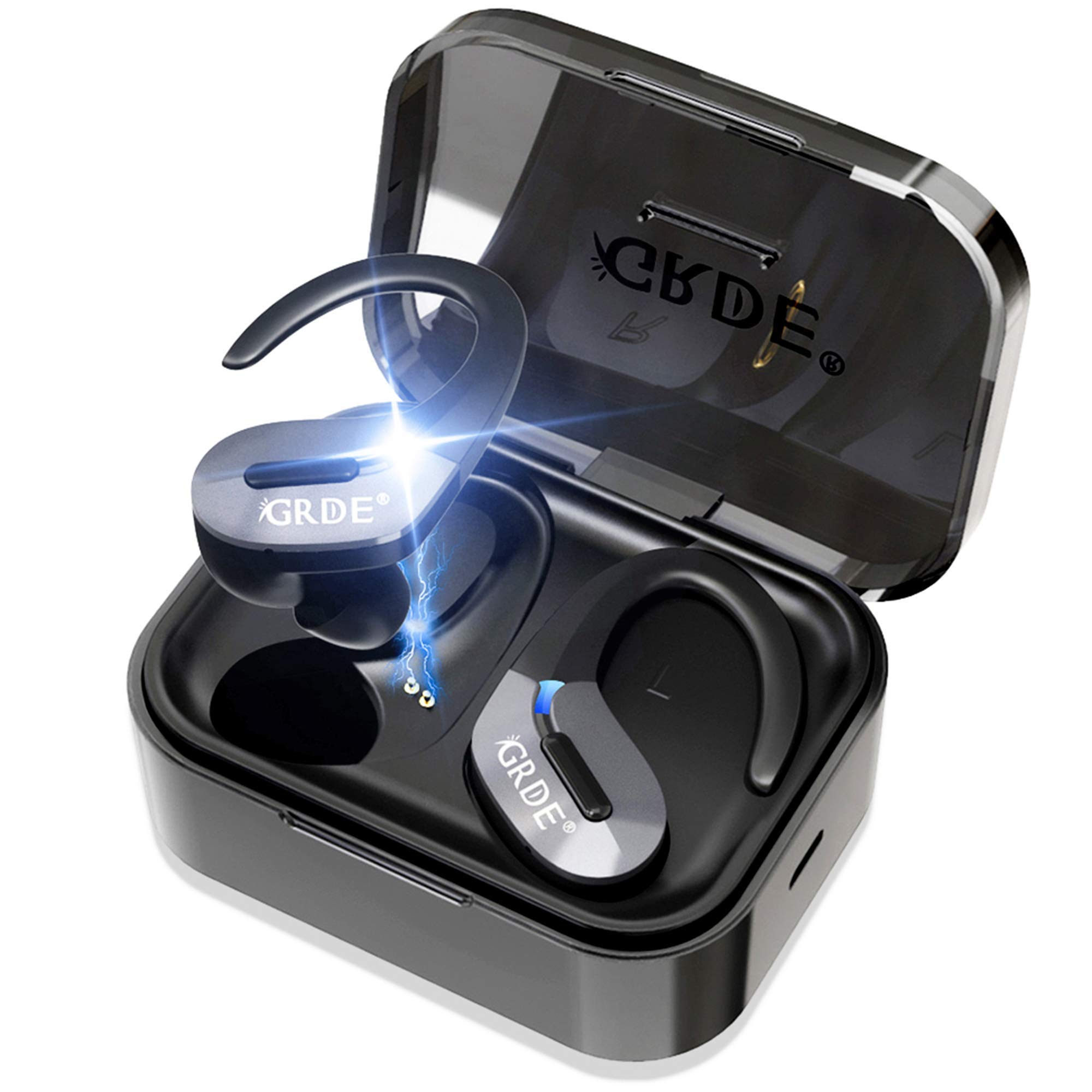 Wireless Earbuds, Bluetooth 5.0 Headphones True Wireless Earbuds Sports in-Ear TWS Stereo HiFi Sound Bluetooth Earbuds 30H Playtime Wireless Earphones with Charging Case[2019 Version] by GRDE