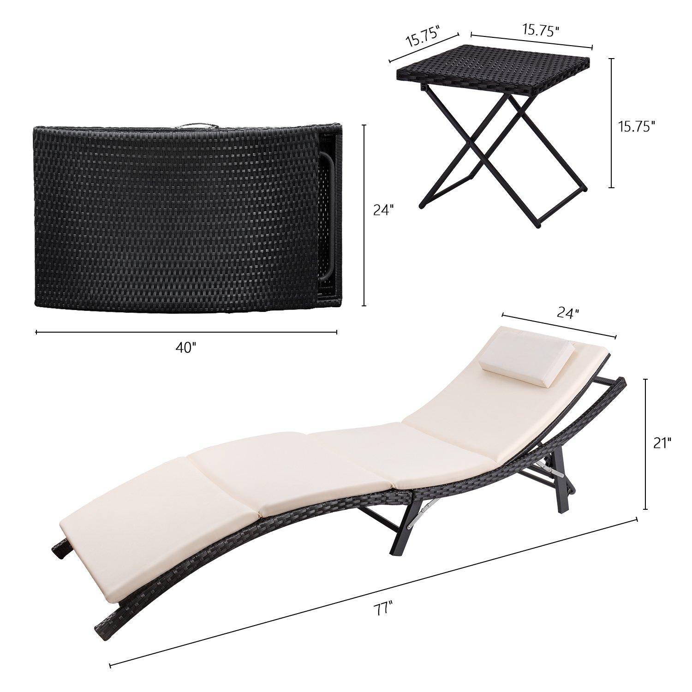 Devoko Patio Chaise Lounge Sets Outdoor Rattan Adjustable Back 3 Pieces Cushioned Patio Folding Chaise Lounge with Folding Table (Beige Cushion) by Devoko (Image #6)