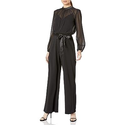 Adrianna Papell Women's Knit Crepe & Chiffon Jumpsuit: Clothing