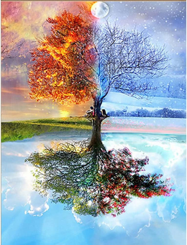 DIY 5D Diamond Painting by Number Kits, Full Drill Crystal Rhinestone Embroidery Pictures Arts Craft for Home Wall Decor Gift,Four Seasons Trees