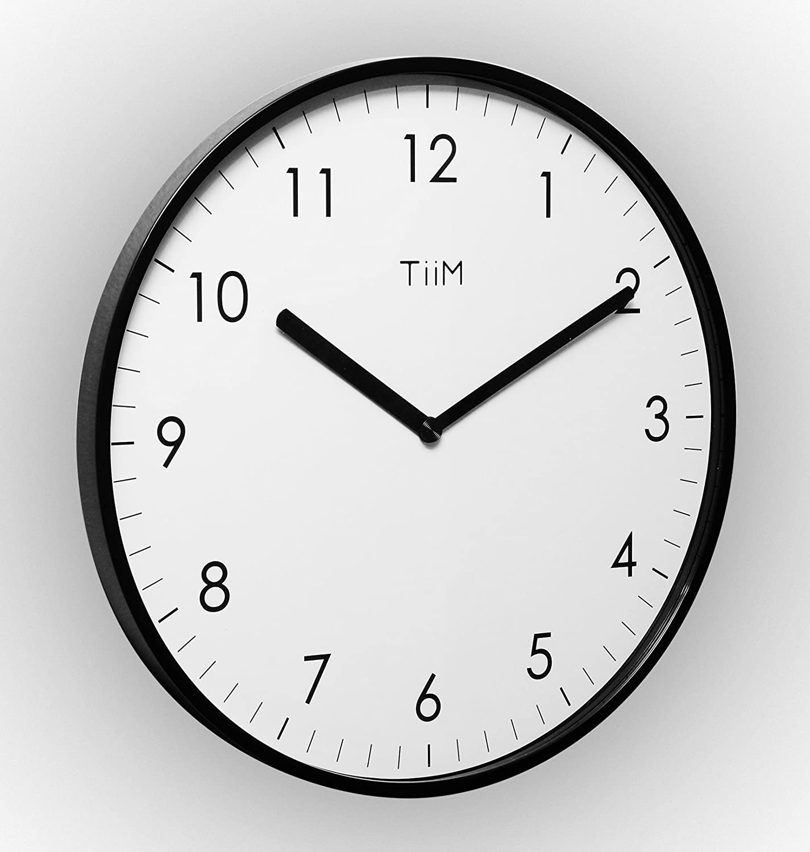 Amazon Com Tiim Slim Modern Design Wall Clock Black Home Kitchen