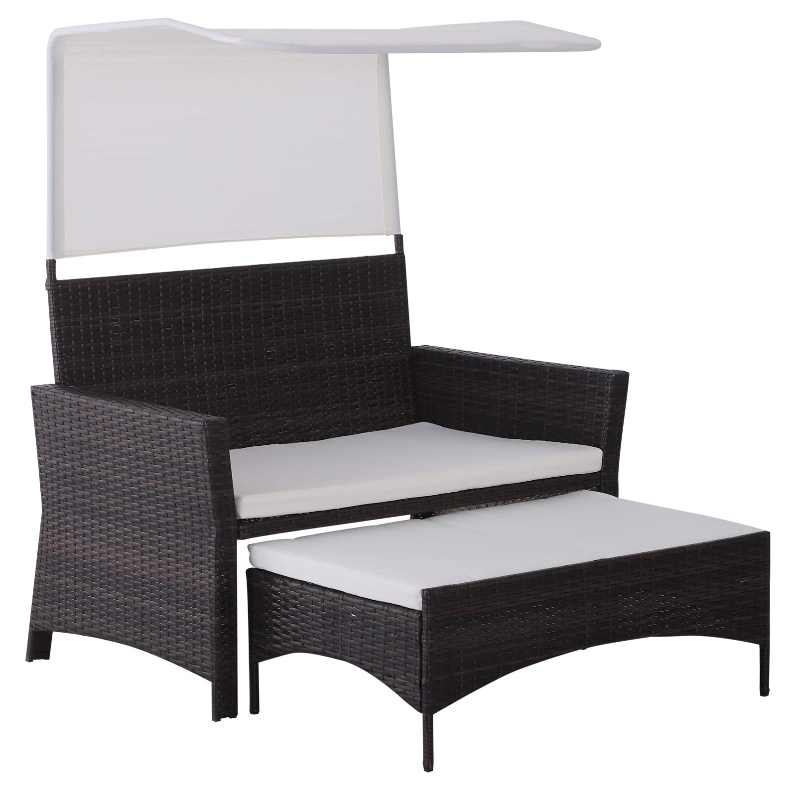 Outsunny 2 Piece Rattan Wicker Outdoor Loveseat with Sunshade Canopy and Nesting Ottoman Footrest - Brown