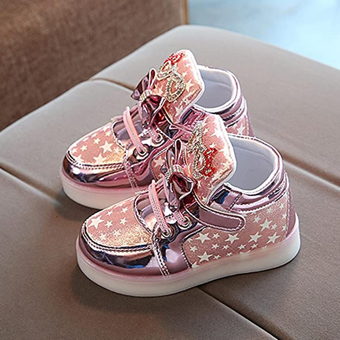 LEEDY Cute Children Girls Crystal LED Ligh Infant Toddler Baby Boys Cartoon Luminous Sport Shoes Sneakers Childrens Lights Lighting Casual Kids Shoes