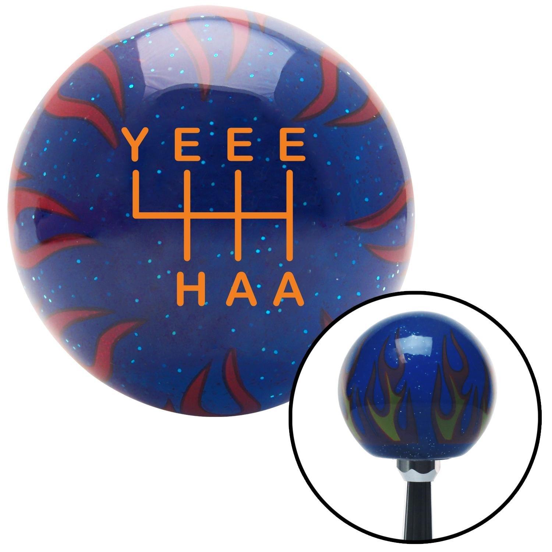 American Shifter 302304 Shift Knob Orange YeeeHaa 6 Speed Blue Flame Metal Flake with M16 x 1.5 Insert