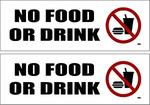 2 Pack No Food Or Drink Allowed Sticker Set Sign Warning 9x3 Inch Vinyl Decal Indoor Outdoor Window Door Business Retail Store